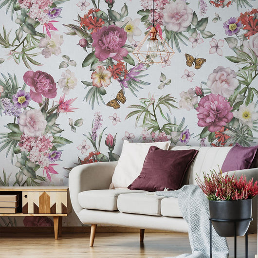 Veri Butterfly Wallpaper, Living room with beautiful wallpaper and design