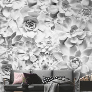 nature Wall Decor, White Succulents Mural Wallpaper, beautiful natural decor, nature inspired designs, best home decor, Forest Homes