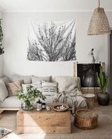 Nature decor, Wall Decor, Pipa B&W Forest Tapestry, Beautiful Natural Decor, Nature inspired Design, nature wallpaper, floral wallpaper, forest wallpaper, mural wallpaper, nature canvas, canvas prints, nature tapestries, glass terrariums, home decor, Forest Homes