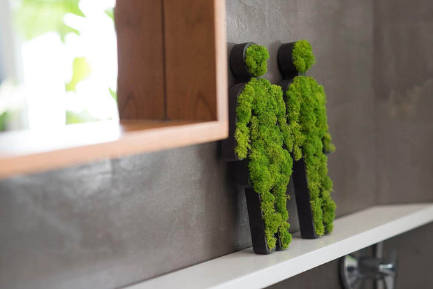 nature Wall Decor, Green Moss Toilet Signs, beautiful natural decor, nature inspired designs, best home decor, Forest Homes
