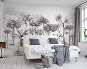 nature Wall Decor, Forest Drawings Grey Wallpaper Mural, beautiful natural decor, nature inspired designs, best home decor, Forest Homes