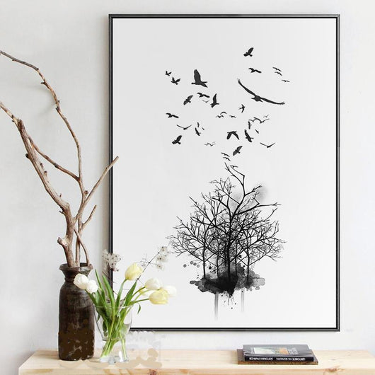Nature decor, Wall Decor, Migrating Birds Canvas Prints, Beautiful Natural Decor, Nature inspired Design, home decor, Forest Homes
