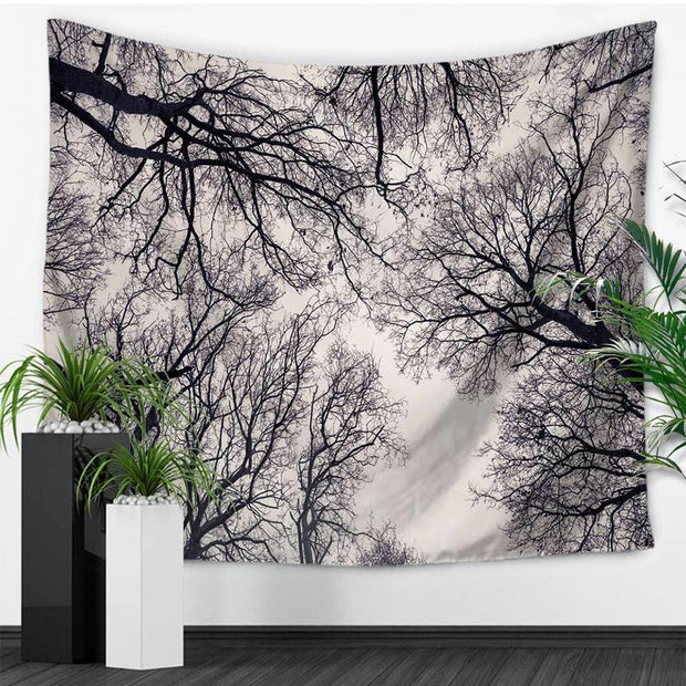 nature Wall Decor, Bodhi B&W Forest Tapestry, beautiful natural decor, nature inspired designs, best home decor, Forest Homes