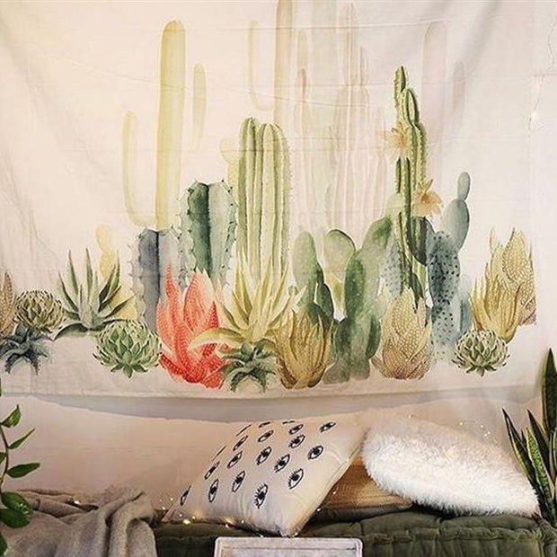 nature Wall Decor, Colorful Cactus Tapestry, beautiful natural decor, nature inspired designs, best home decor, Forest Homes