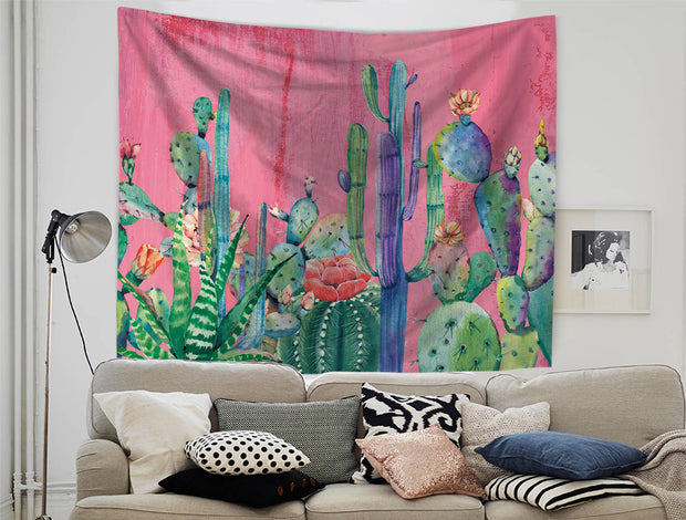 nature Wall Decor, Cactus Fucsia Tapestry, beautiful natural decor, nature inspired designs, best home decor, Forest Homes