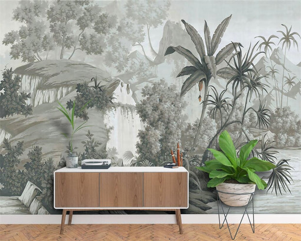 Black & White Jungle Mural