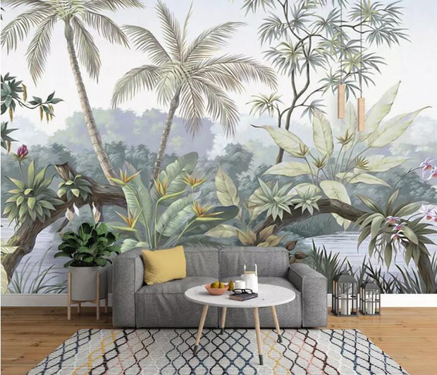 nature Wall Decor, Pastel Forest Mural Wallpaper (m²), beautiful natural decor, nature inspired designs, best home decor, Forest Homes