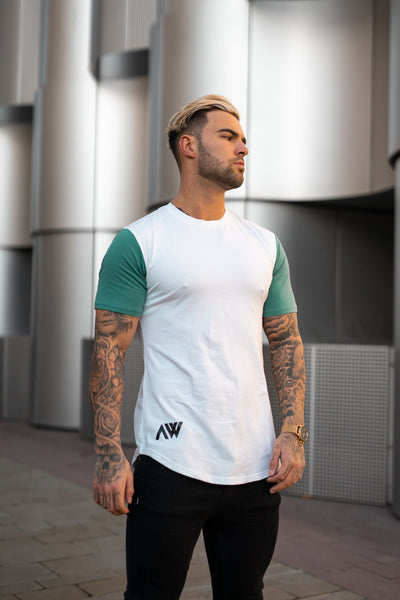 Icon Contrast T-Shirt - White & Teal