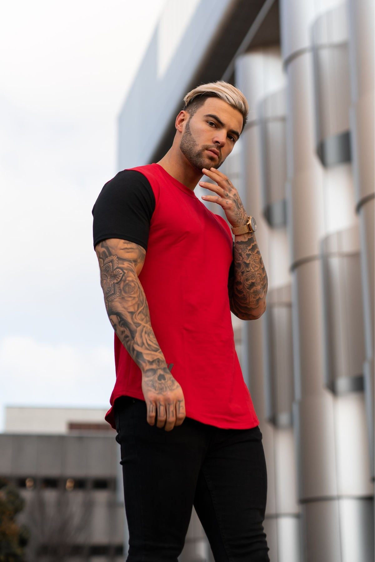 Icon Contrast T-Shirt - Red & Black