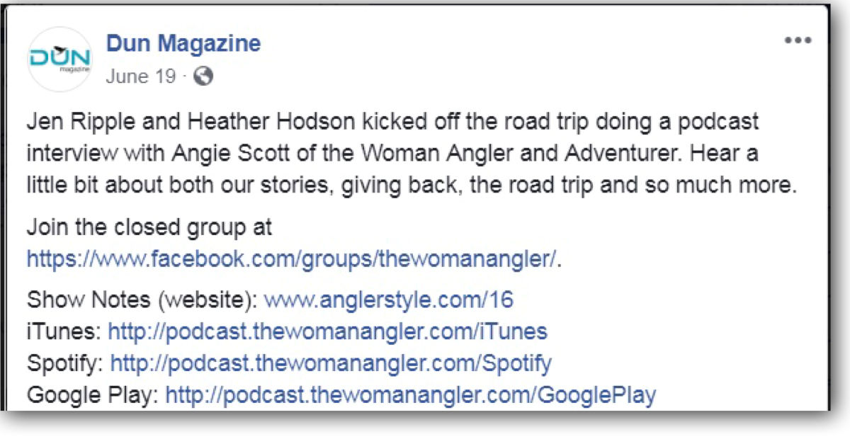 Dunn Magazine's Post about The Woman Angler & Adventurer Podcast