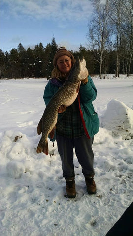 Northwoods Minnesota Outdoors Woman Carol Cheney and a monster northern pike!