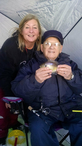 Patti and her dad ice fishing for the 1st time!