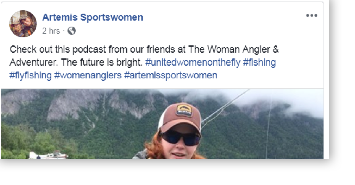 Artemis Sportswomen's Facebook Post About The Woman Angler & Adventurer Podcast