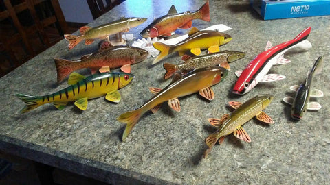 Carol Cheney's handcrafted pike spearing decoys