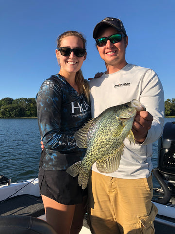 Garrett and Jade getting into some nice crappie on Devils Lake