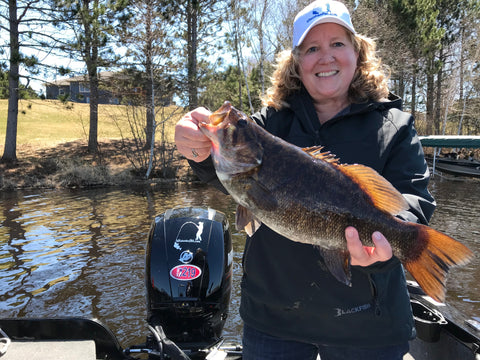 Jane McMahon with her 1st Place Bass in the 2019 Governor's Open