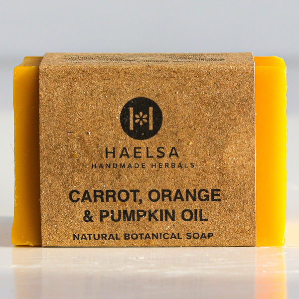 Carrot, orange & pumpkin oil soap in wrapper