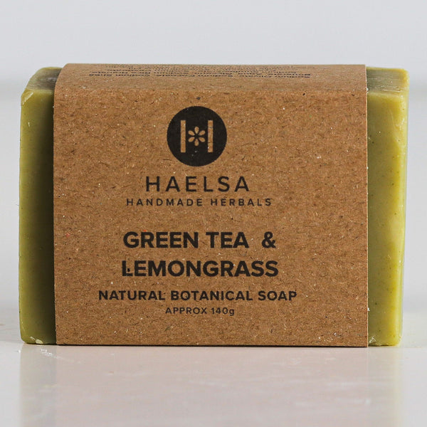 Green tea & lemongrass soap in wrapper
