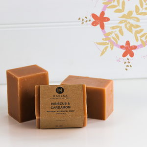 Hibiscus & cardamom soap in group