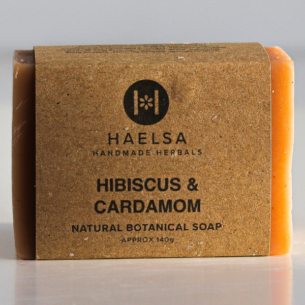 Hibiscus & cardamom soap in wrapper
