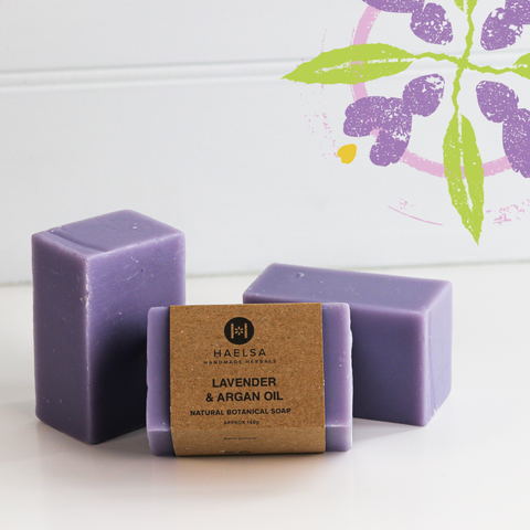 Lavender & argan oil soap in group