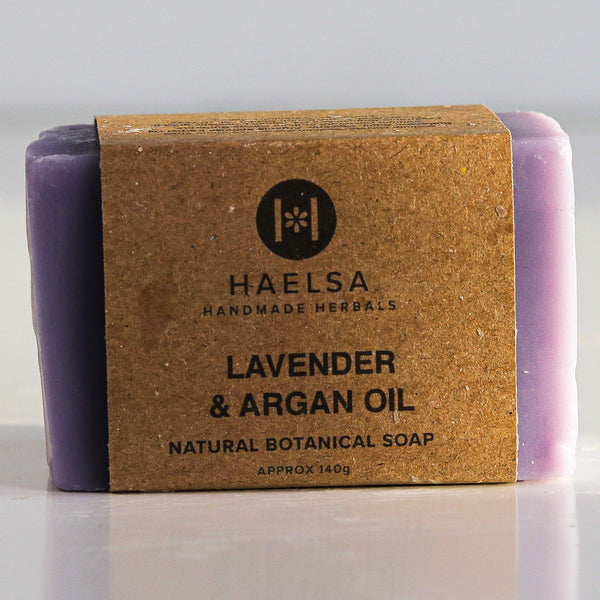 Lavender & argan oil soap in wrapper