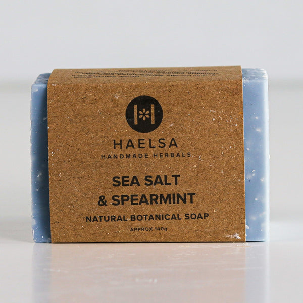 Sea salt & spearmint soap in wrapper