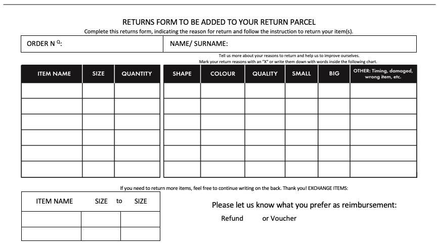return & refund form