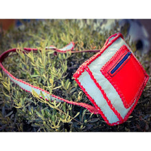 Grey and Red leather sling bag - leather bag