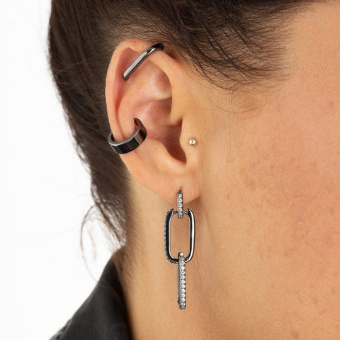 Black Metal Jewellery Ear Cuff and Oval Hoops