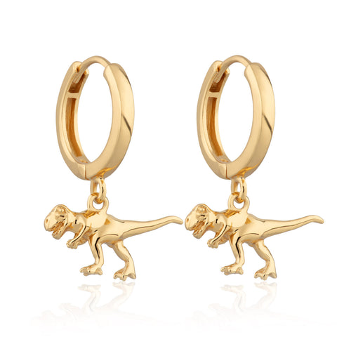 Gold dinosaur Huggie Hoop Earrings