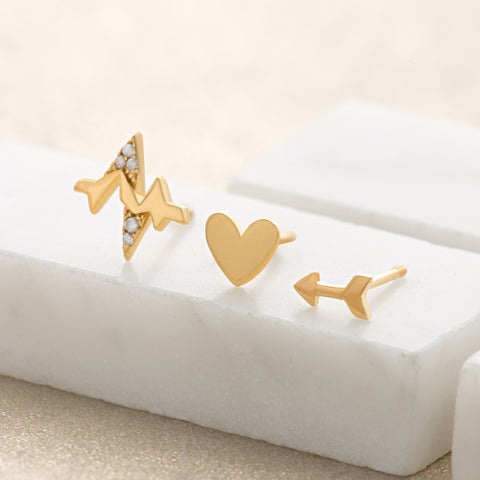 Heartbeat mismatched studs by Scream Pretty