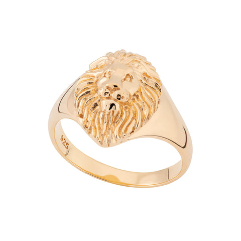 Lion Head Signet ring in recycled silver