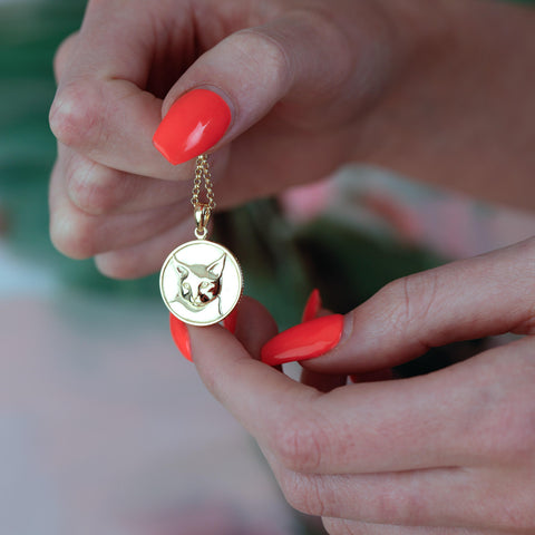 Cat Heads or Tails coin Pendant