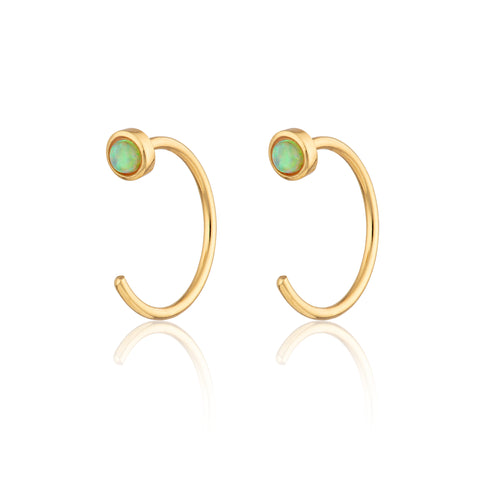 opal reverse huggies hoop earrings