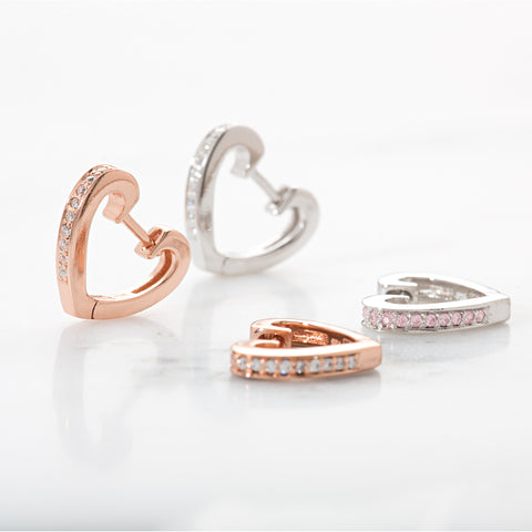 Heart Huggie Hoop Earrings