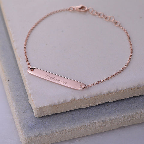 Lily Charmed Engraved Rose Gold Bar Bracelet