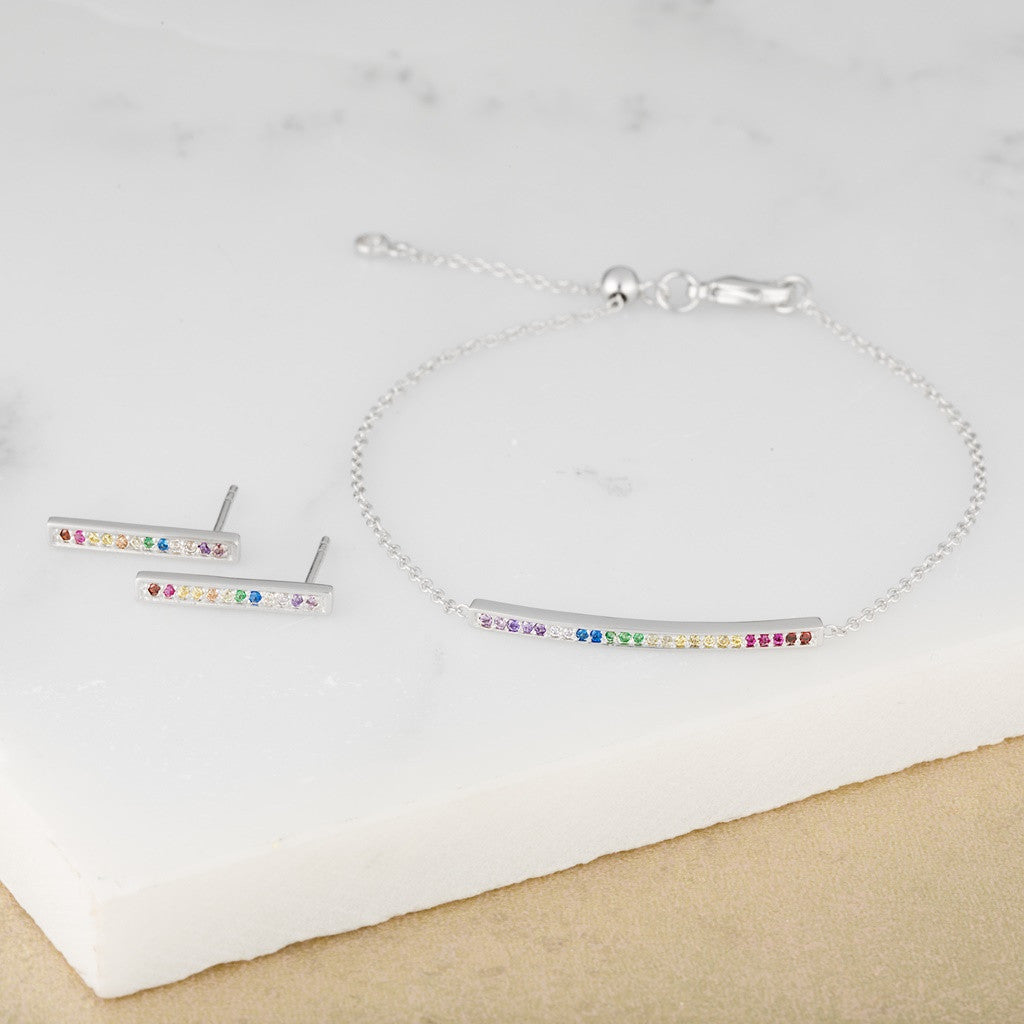 Rainbow Bar Bracelet and Earrings BY Scream Pretty