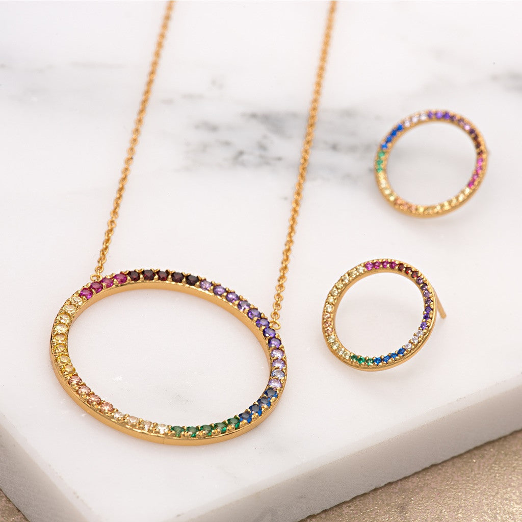 Open Circle Rainbow Jewellery Set by Scream Pretty