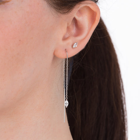 Droplet threader and stud earrings