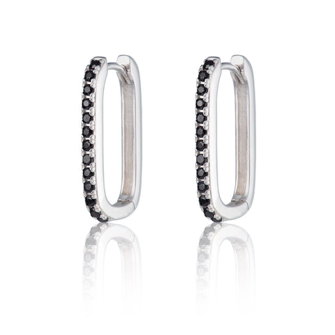 Silver & Black Onyx Oval hoop earrings