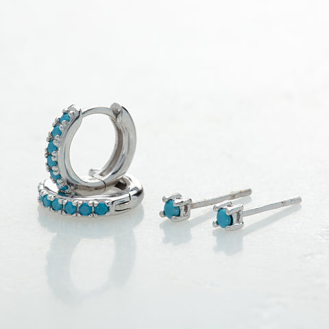 Scream Pretty Turquoise Huggie Hoops and stud set