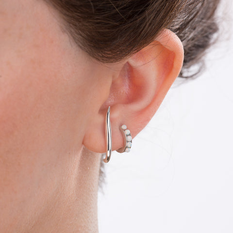 S bar Stud and Opal Huggie Earrings by Scream Pretty