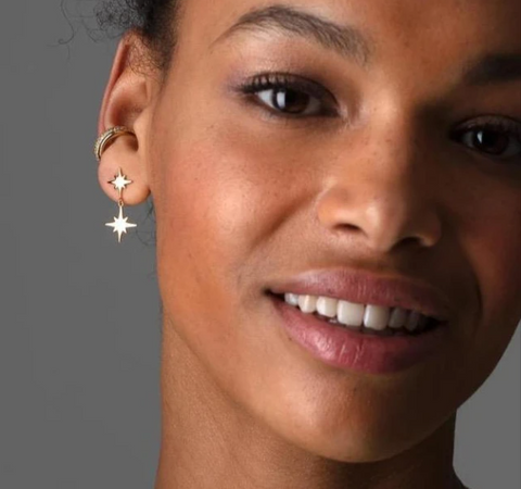 Double Star Drop Stud Earrings