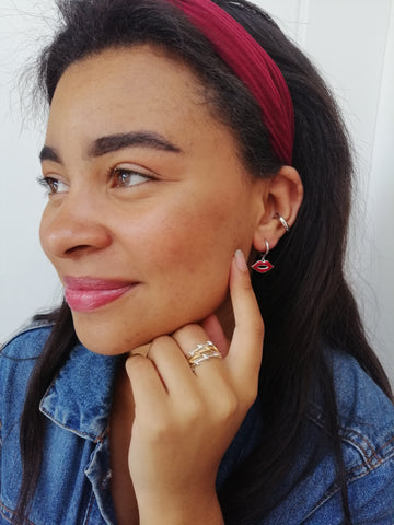 Red Lip Huggie Hoop Earrings