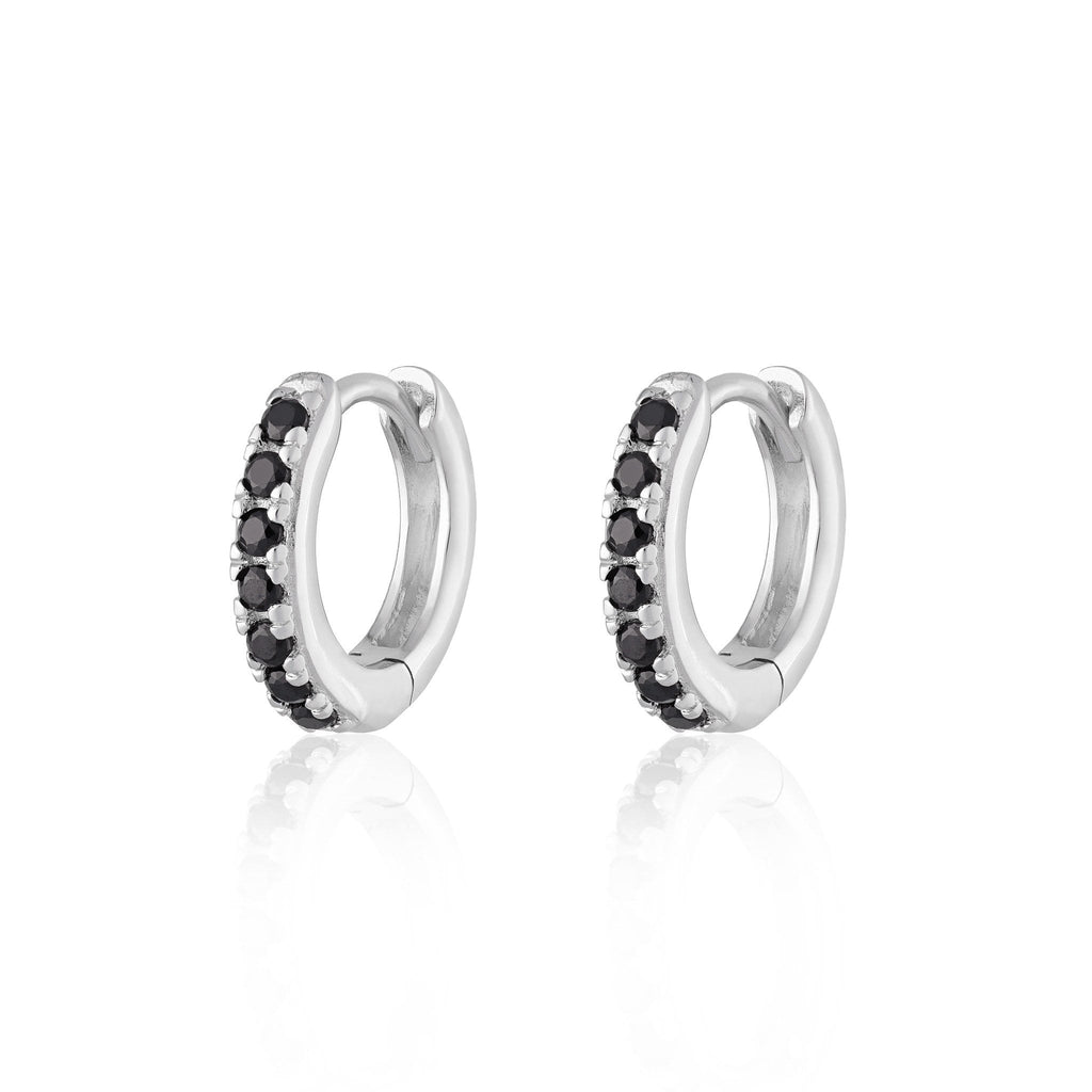 Huggie Hoop Earrings With Black Stones