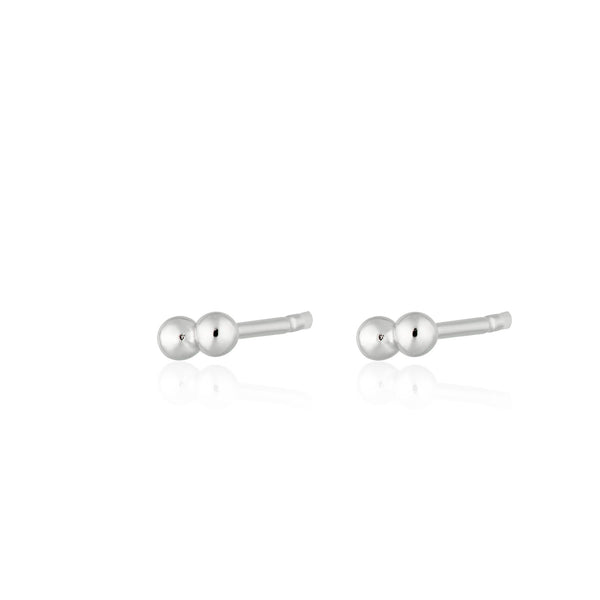 Silver Solder Dot 2 Bead Stud Earrings by Scream Pretty