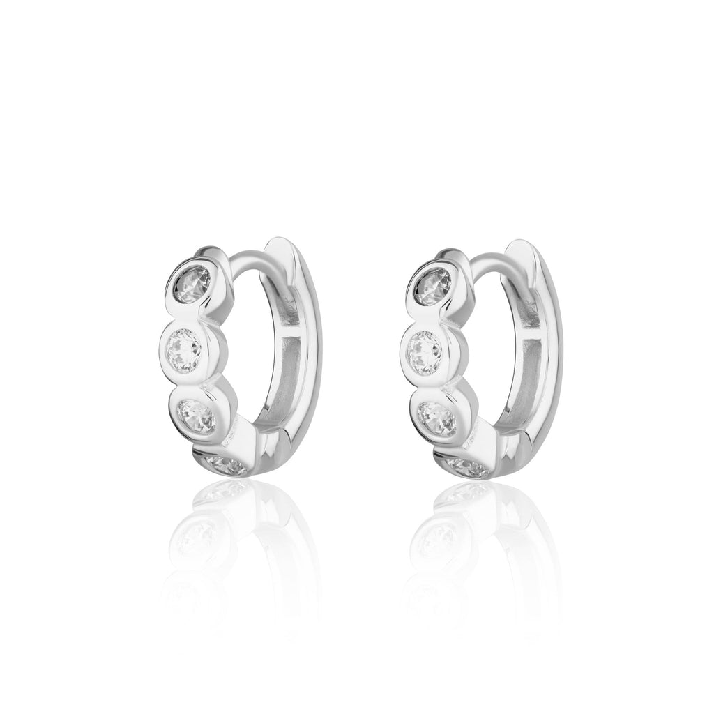 Bezel Huggie Earrings with Clear Stones