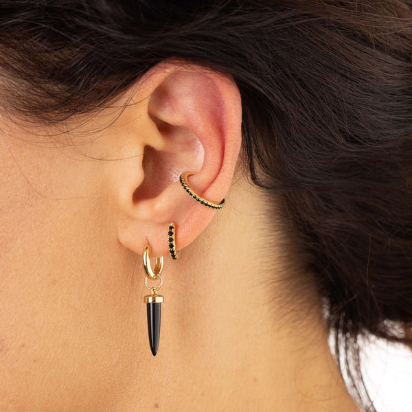Black Spike Single Huggie Earring