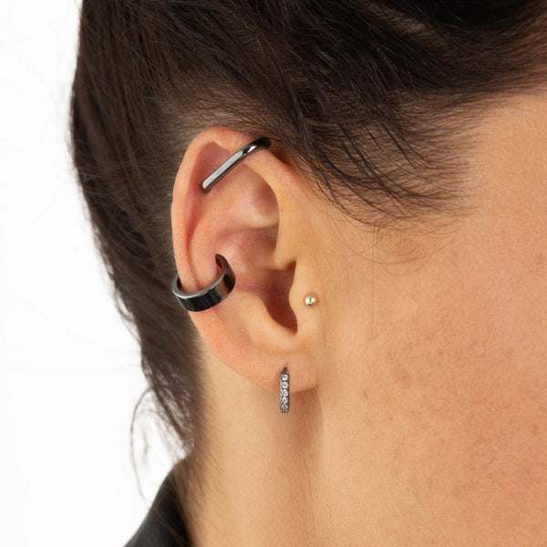 Black Wide Ear Cuff, Single Ear Cuff